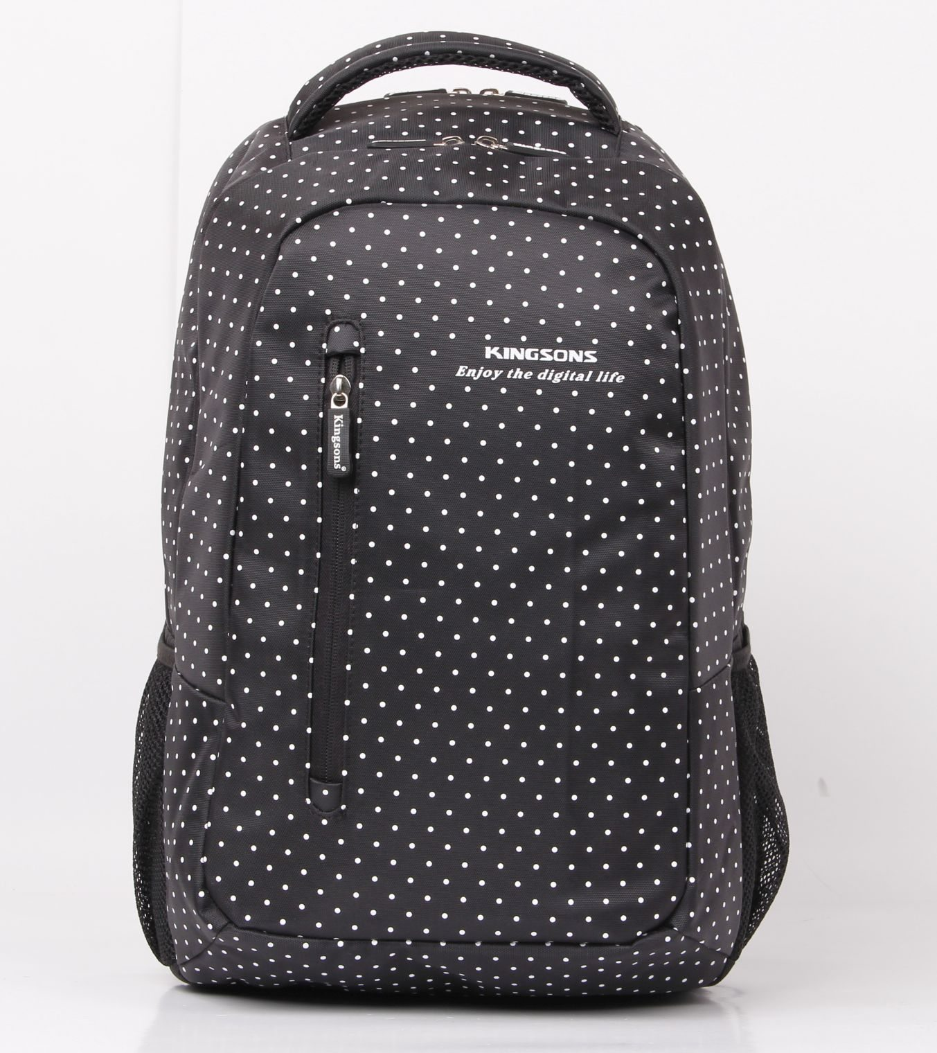 Kingsons Laptop Backpack 14.5� KS3010W :: Hot Dot Series - White Dot