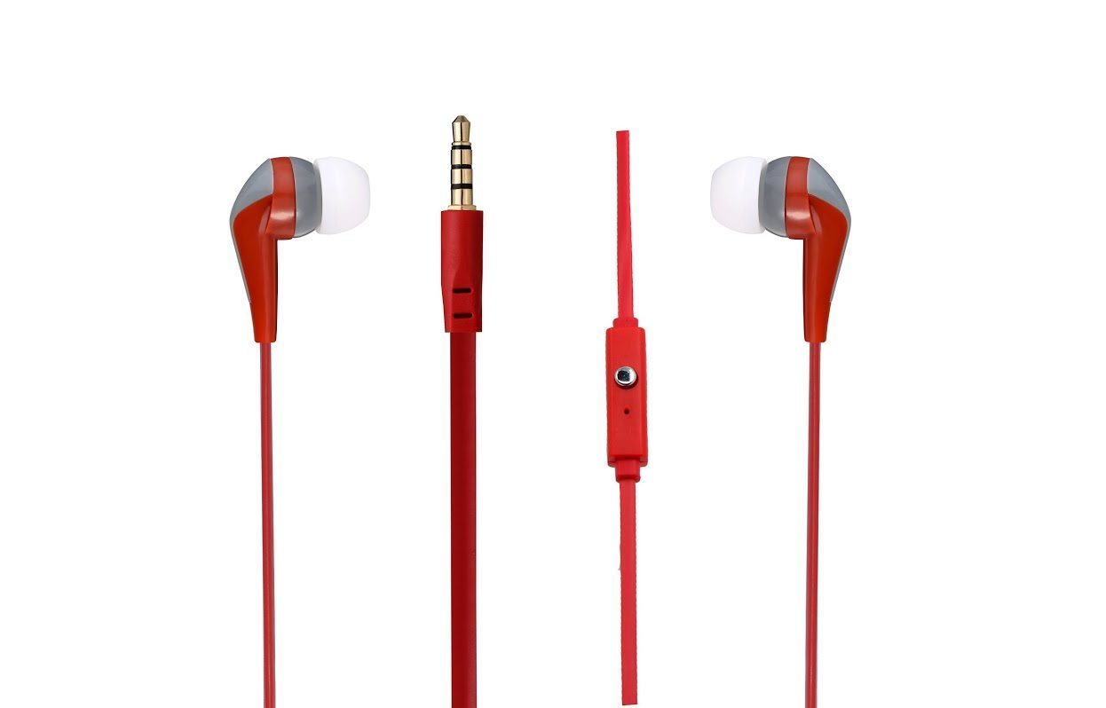 Walk the Talk- In-earphones with mic Red & grey AM1101/RG