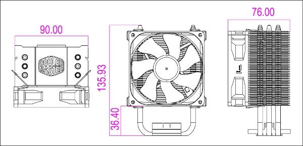 CoolerMaster CPU Cooler Hyper TX3 - LGA775/1156/AM3